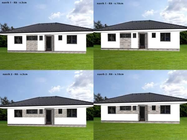 Vizualizacia fasady rodinneho domu, obkladom gneis G8, pásiky 5 a 10cm
