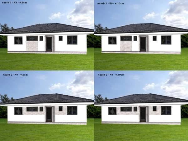 Vizualizacia fasady rodinneho domu, obkladom gneis G9, pásiky 5 a 10cm