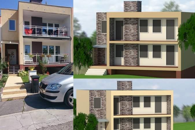 Vizualizácia fasády rodinného domu - obkladovy kamen Gneis G5
